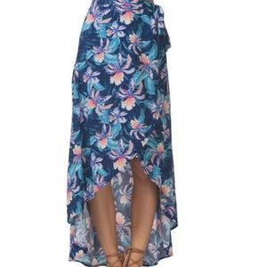 Rip Curl Navy Tropic Floral Tribe Maxi Wrap Skirt
